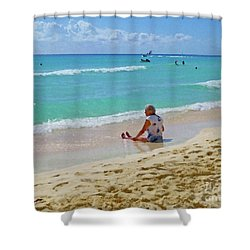 Shower Curtain featuring the digital art Lady On The Beach by Francesca Mackenney
