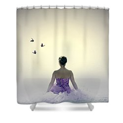 Lady On The Beach Shower Curtain by Joana Kruse
