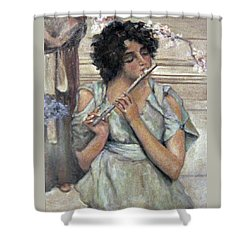Lady Playing Flute Shower Curtain