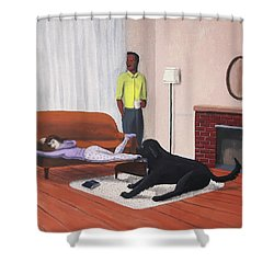 Lady Pulling Mommy Off The Couch Shower Curtain