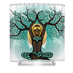 Lady Shaman Tree Shower Curtain