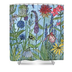 Shower Curtain featuring the painting Lady Slipper In My Garden  by Laurie Rohner