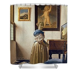 Lady Standing At The Virginal Shower Curtain by Jan Vermeer