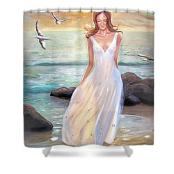 Lady Walking On The Beach Shower Curtain