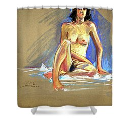 Lady With Blue Shower Curtain