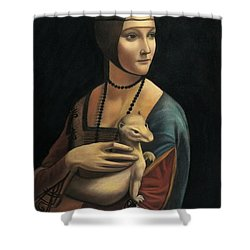 Lady With Ermine - Pastel Shower Curtain by Vishvesh Tadsare