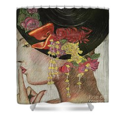 Shower Curtain featuring the drawing Lady With Hat by Jacqueline Athmann