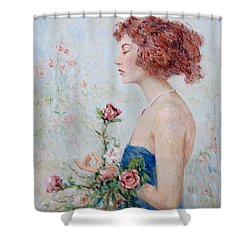 Lady With Roses  Shower Curtain