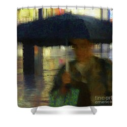 Lady With Umbrella Shower Curtain