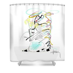 Shower Curtain featuring the mixed media Lady With Yellow Flowers by Larry Talley