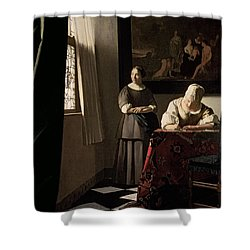Lady Writing A Letter With Her Maid Shower Curtain by Jan Vermeer