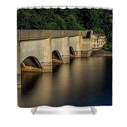 Shower Curtain featuring the photograph Ladybower Reservoir Reflecting Viaduct by Scott Lyons