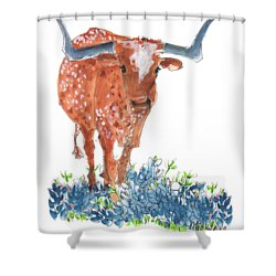 Ladybug In The Bluebonnets Lh002 By Kmcelwaine Shower Curtain