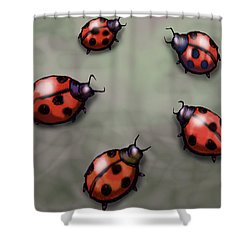 Ladybugs Shower Curtain by Kevin Middleton