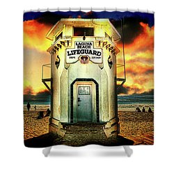 Laguna Beach Lifeguard Hq Shower Curtain