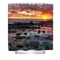 Laguna Beach Tidepools At Sunset Shower Curtain by Eddie Yerkish