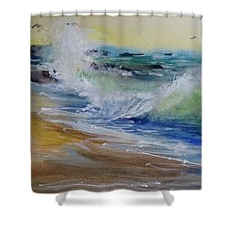 Laguna Beach Wave South View Shower Curtain by Sandra Strohschein