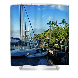 Shower Curtain featuring the photograph Lahaina Marina Blue Twilight by Sharon Mau