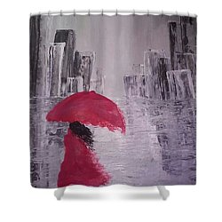 Laidy In The City Abstract Art Shower Curtain by Sheila Mcdonald