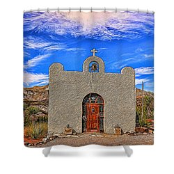 Lajitas Chapel Painted Shower Curtain