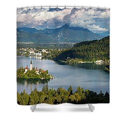 Shower Curtain featuring the photograph Lake Bled Pano by Brian Jannsen