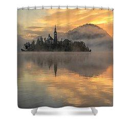 Lake Bled Sunrise Slovenia Shower Curtain