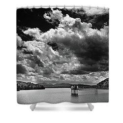 Lake Blue Ridge In Black And White Shower Curtain