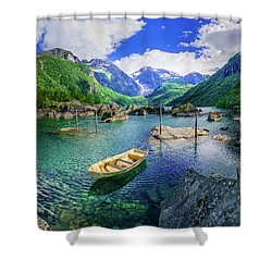 Shower Curtain featuring the photograph Lake Bondhusvatnet by Dmytro Korol