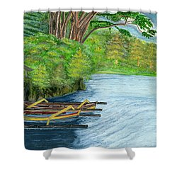 Shower Curtain featuring the painting Lake Bratan Boats Bali Indonesia by Melly Terpening