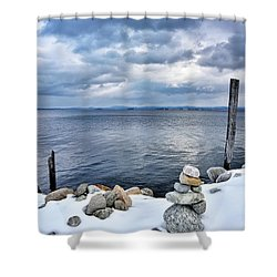 Lake Champlain During Winter Shower Curtain by Brendan Reals