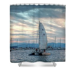 Shower Curtain featuring the photograph Lake Champlain Sunset Sail by Susan Cole Kelly