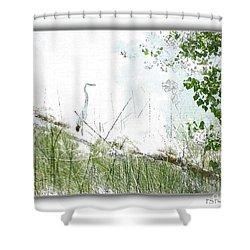 Lake Crane Shower Curtain