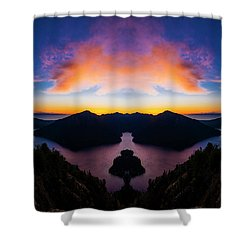 Lake Crescent Reflection Shower Curtain