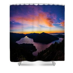 Lake Crescent Sunset Shower Curtain by Pelo Blanco Photo