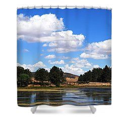 Lake Cuyamac Landscape And Clouds Shower Curtain