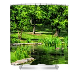 Shower Curtain featuring the painting Lake Ellyn Geese by Christopher Arndt