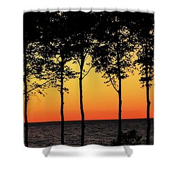 Shower Curtain featuring the photograph Lake Erie Silhouettes by Bruce Patrick Smith