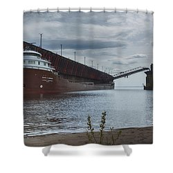 Lake Freighter Shower Curtain by Dan Hefle