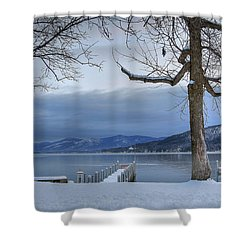 Lake George In The Winter Shower Curtain by Sharon Batdorf