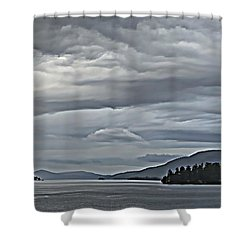 Lake George Rain And Clouds Shower Curtain