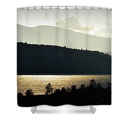 Shower Curtain featuring the photograph Lake Glimmer by AJ  Schibig