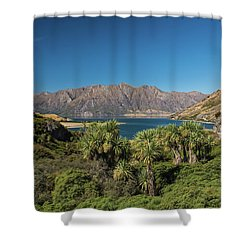 Shower Curtain featuring the photograph Lake Hawea Approach, Otago by Gary Eason