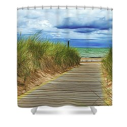 Shower Curtain featuring the photograph Lake Huron Boardwalk by Bill Gallagher
