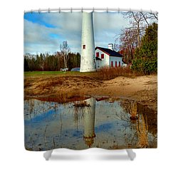 Lake Huron Lighthouse Shower Curtain