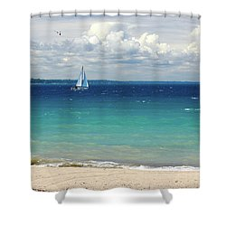 Lake Huron Sailboat Shower Curtain