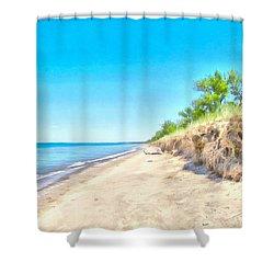 Lake Huron Shoreline Shower Curtain by Maciek Froncisz