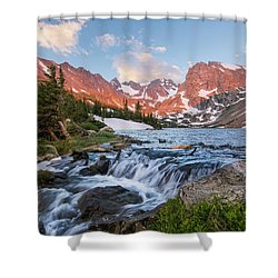 Lake Isabelle Sunrise Shower Curtain by Aaron Spong