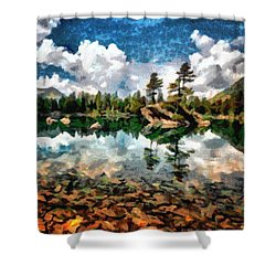 Lake Island View Shower Curtain