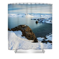 Shower Curtain featuring the photograph Lake Kleifarvatn Iceland In Winter by Matthias Hauser
