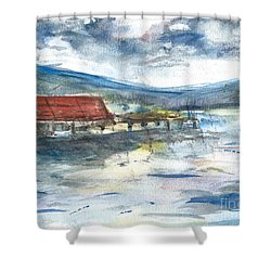 Shower Curtain featuring the painting Lake Leatherwood Eureka Springs Boat Dock  by Reed Novotny